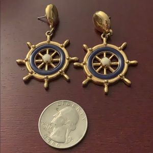 Vintage nautical navy and gold earrings
